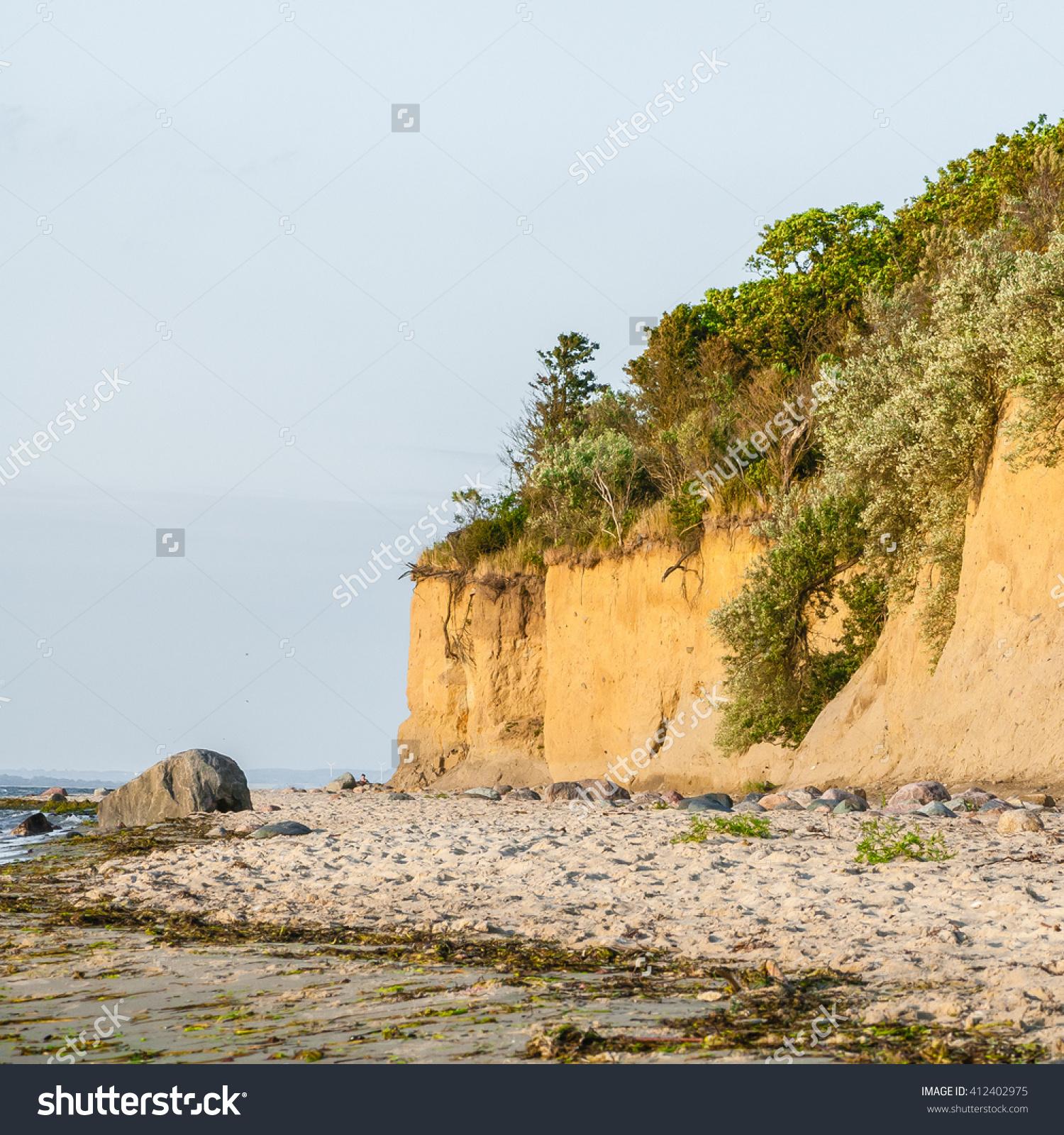 Coastal Erosion At Baltic Sea Beach; Sandy Beach With Overgrown.