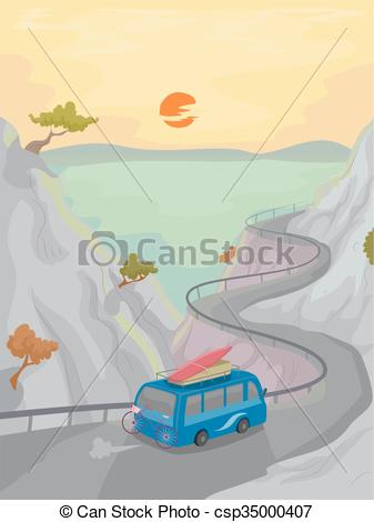 Vector Clipart of Camping Mountain Trip Coastal Road.