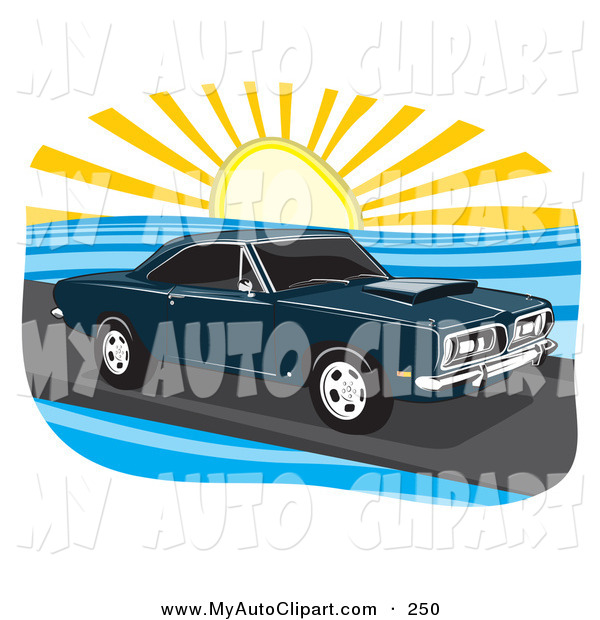 Clip Art of a Navy Blue 1968 Plymouth Barracuda Muscle Car Driving.