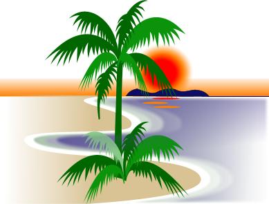 Florida Beach Scene Clipart.