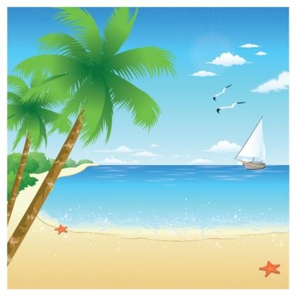 Cartoon Beach Background Clipart.
