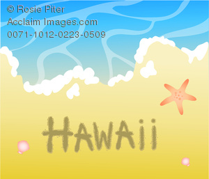 Clipart Image of Beach Scene With Starfish, Waves Lapping at the.