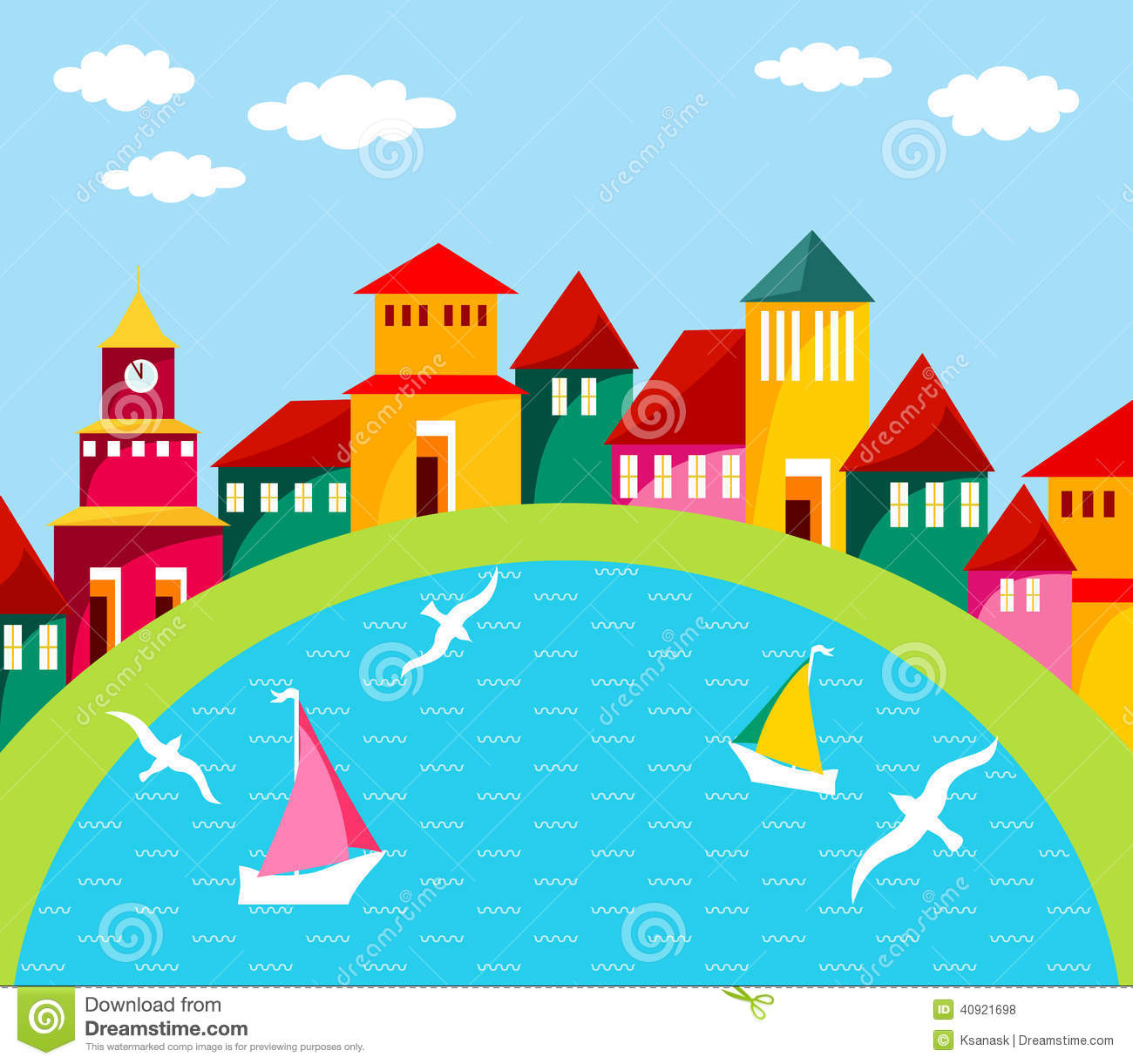 Seaside Town Stock Vector.