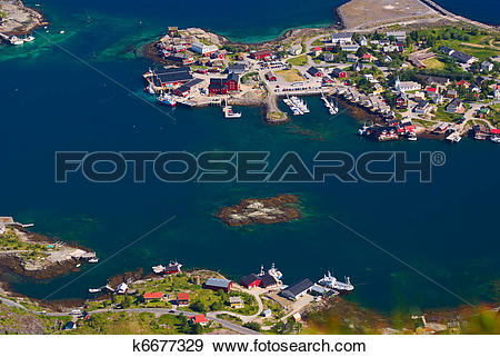 Stock Photograph of The coastal town of Reine on the Lofoten in.