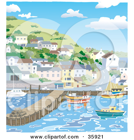 Clipart Illustration of a Coastal Village Of Homes On A Hillside.