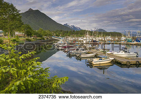 Stock Image of Commercial fishing boats in Crescent Harbour in the.