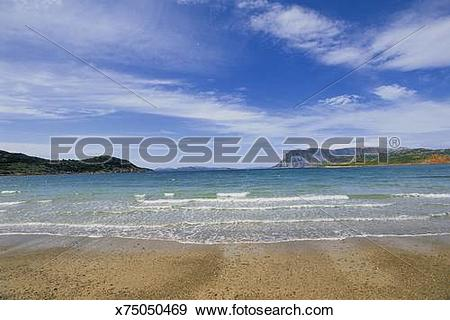 Stock Photograph of Coastal view from Capa Coda Cavallo looking.