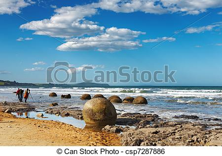 Stock Image of Moeraki Boulders, New Zealand.