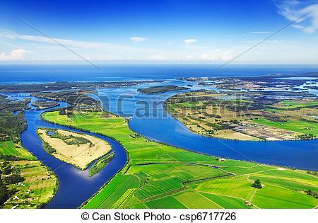 Stock Image of Aerial waterways.