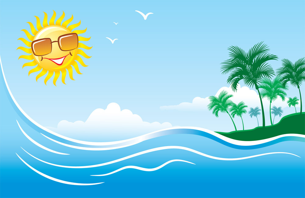 Summer beach background clipart.