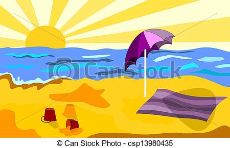 Vectors of Beach in a sunny day.