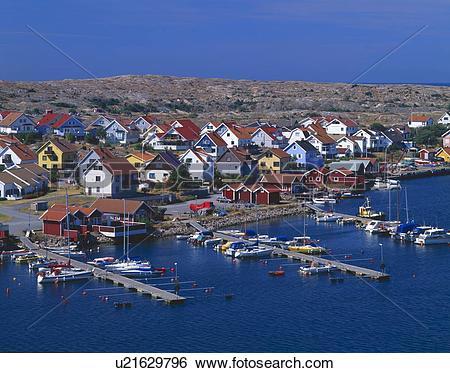 Stock Images of Swedish coastal village u21629796.