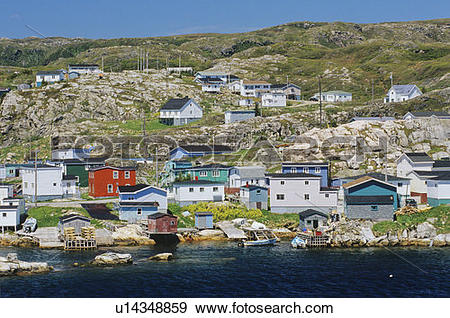 Stock Photograph of Coastal village Rose Blanche, Newfoundland.