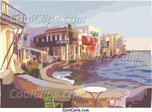 Mediterranean coastal village Vector Clip art.
