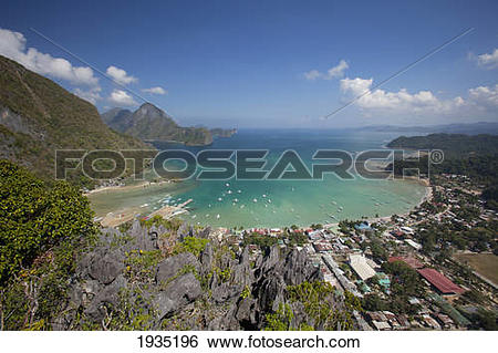 Stock Images of Aerial View Of Limestone Spires Over Coastal.