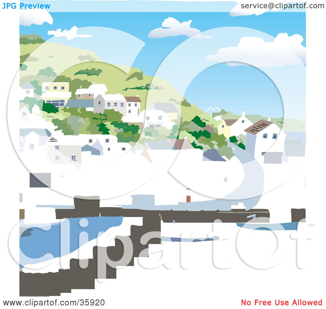 Clipart Illustration of a Coastal Village Of Homes On A Hillside.