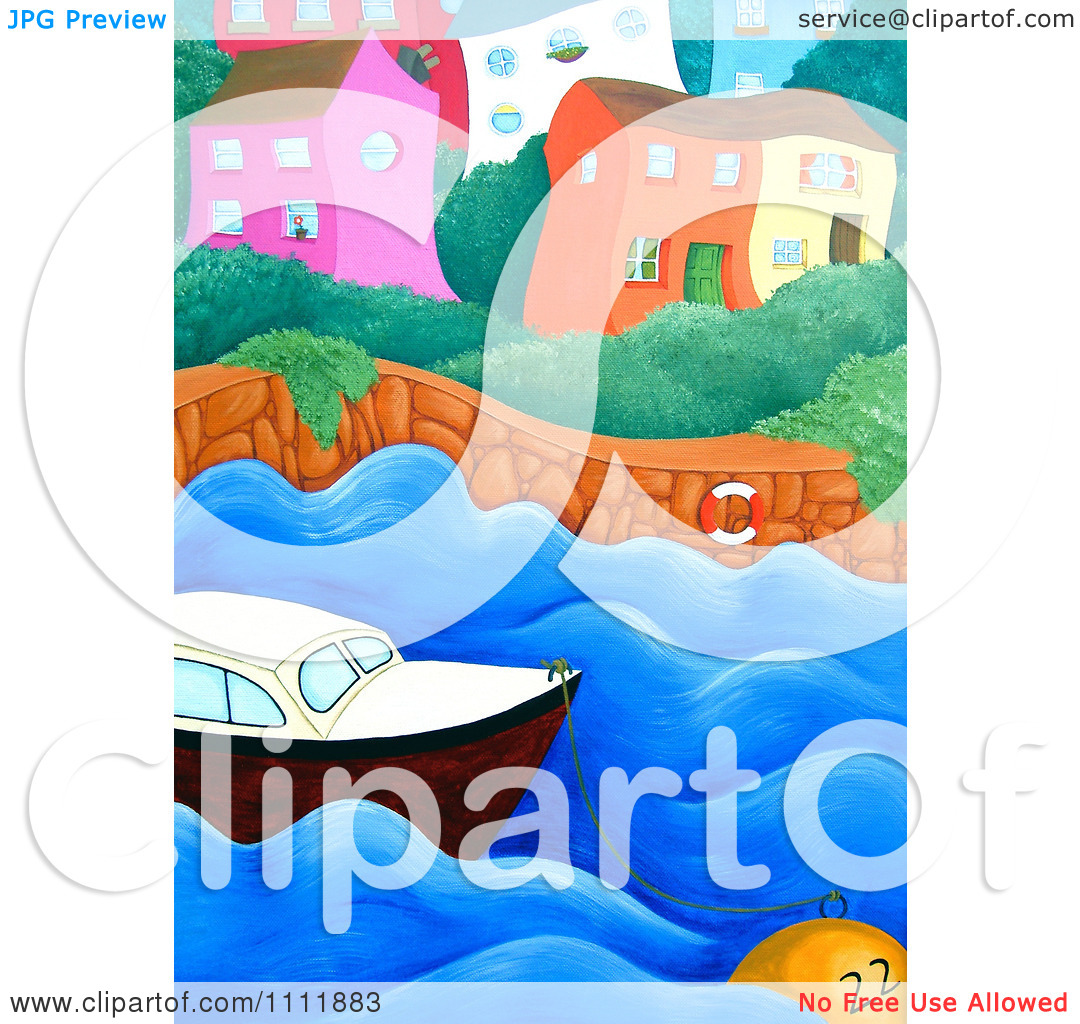 Clipart Wiggly Coastal Village With A Boat And Buoy.
