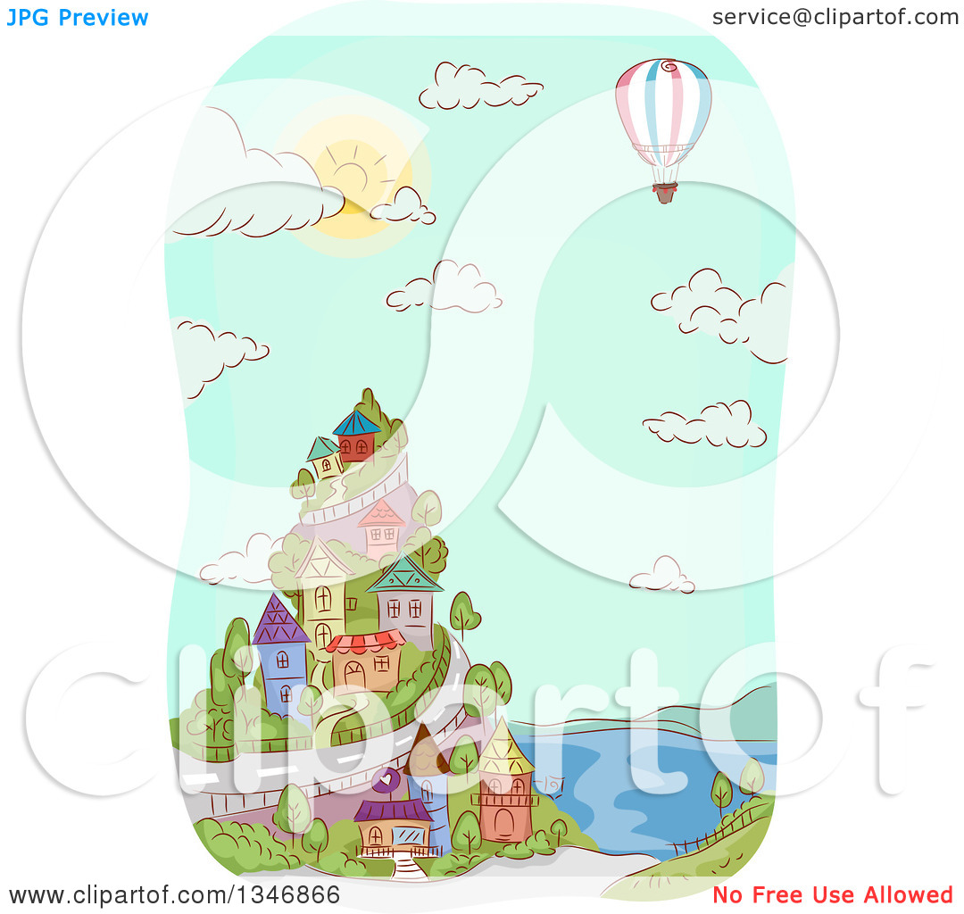 Clipart of a Sketched Hot Air Balloon over a Coastal Village.