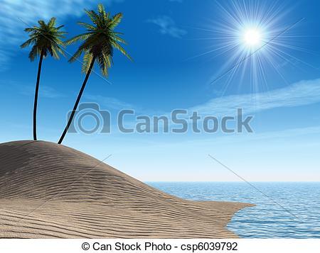 Clip Art of Sea coast. Palm.