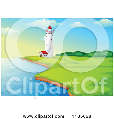 Cartoon Of A Coast And Lighthouse.