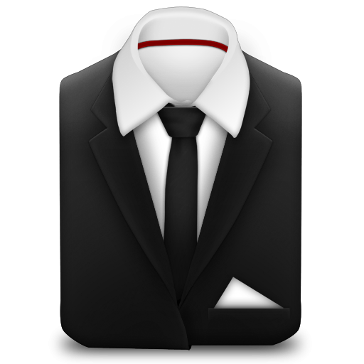 Manager Coat And Tie Black Icon, PNG ClipArt Image.