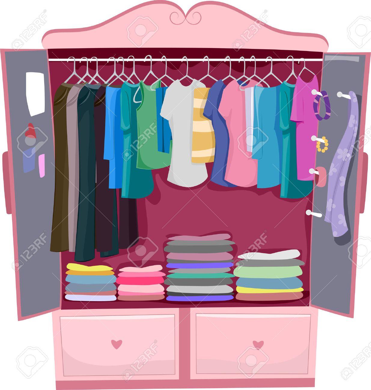 Clothes In Closet Clipart.