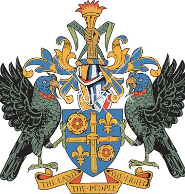 "The Coat of Arms of Saint Lucia whose motto is ""THE LAND, THE."
