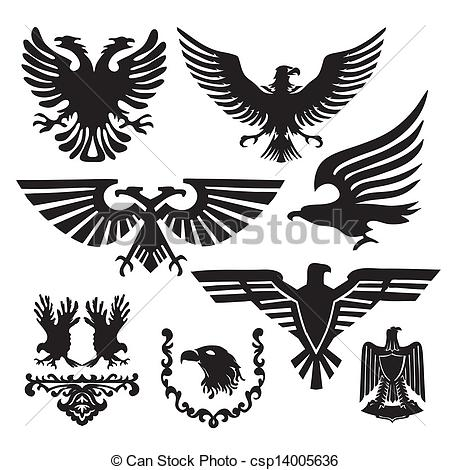 Vectors of coat of arms with an eagle csp14005636.