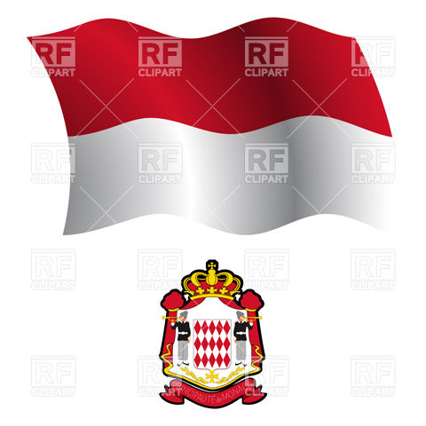 Monaco flag and coat of arms Vector Image #20701.