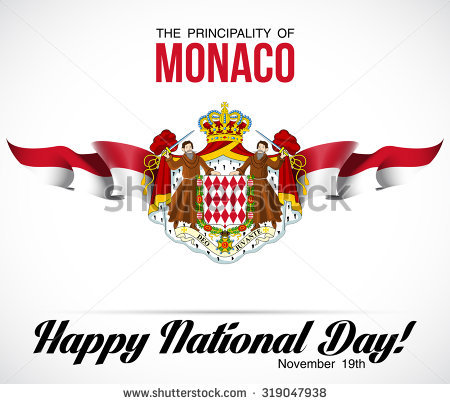 Vector Festive Banner With Flags And Coat Of Arms Of The Monaco.