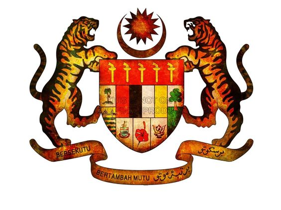 PAINTING ILLUSTRATION COAT ARMS CREST MALAYSIA TIGER SHIELD ART.