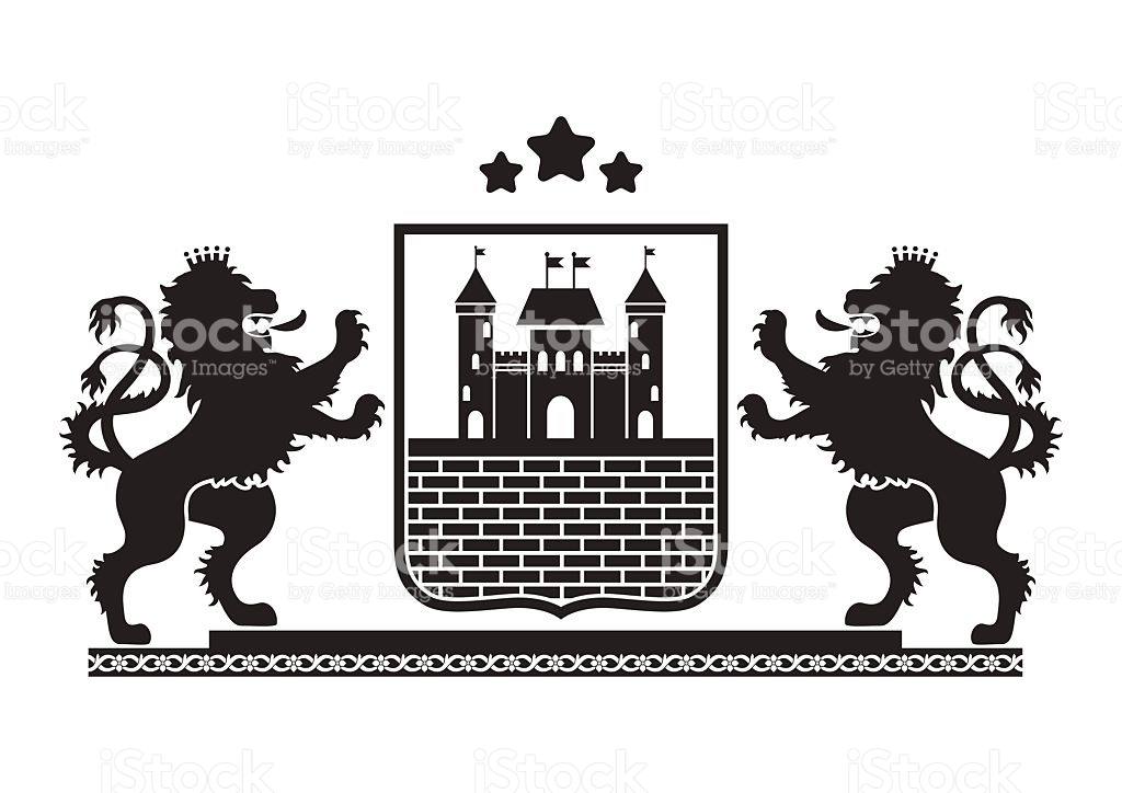 Coat Of Arms Fortress Brick Wall And Lions stock vector art.