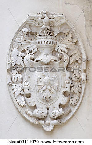 """Stock Photograph of """"Knight's coat of arms on the wall of Pele?Ö."""