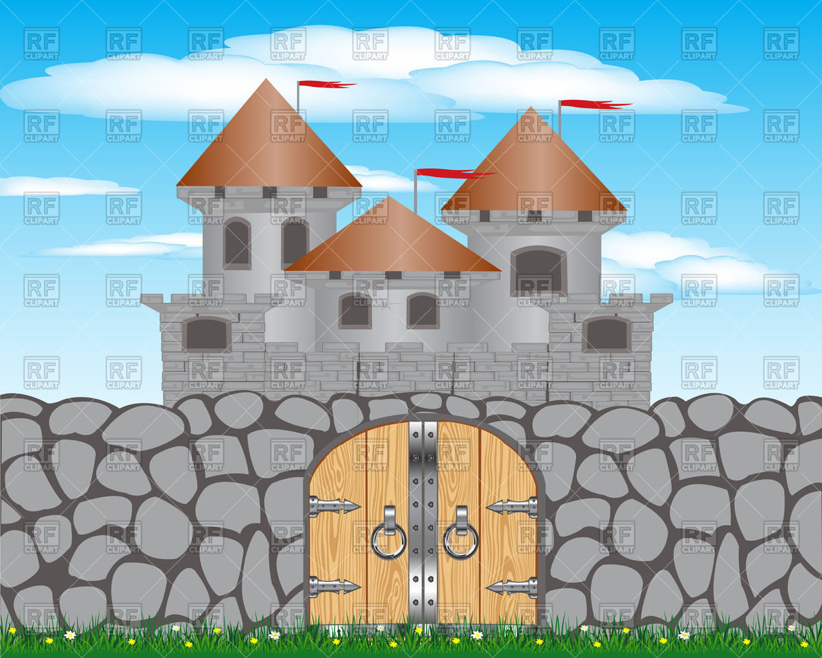 Stone castle outline clipart.