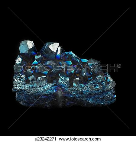 Clipart of Titanium quartz against a black background. These.