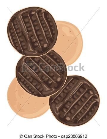 Vector Clip Art of chocolate biscuit.