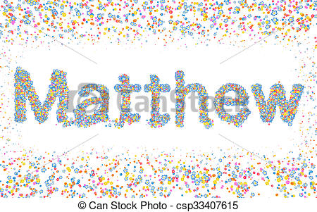 Clipart of Matthew, Male name coated with various colorful flowers.