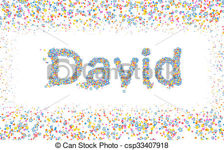 Clipart of David, Male name coated with various colorful flowers.