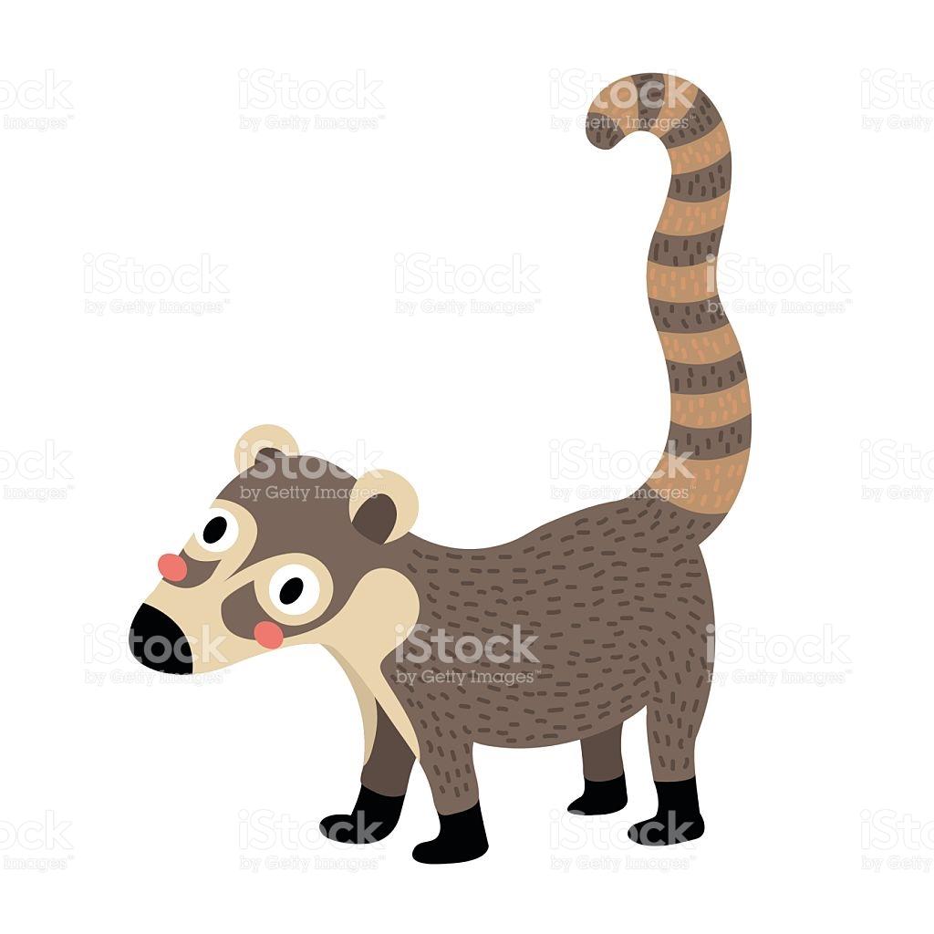 Coati Animal Cartoon Character Vector Illustration stock vector.