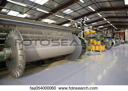 Stock Photography of Fabric coating plant, weaving department.