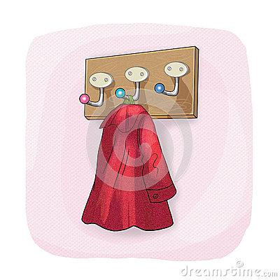 Wall Coat Rack And Coat Hook Stock Illustration.