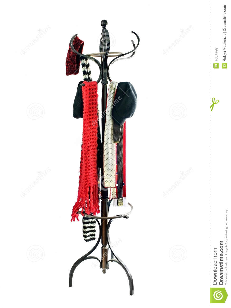 Coat Rack With Hats And Scarves Royalty Free Stock Photography.