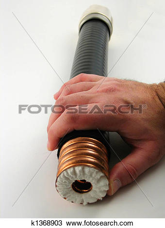Stock Photo of One large coaxial cable k1368903.