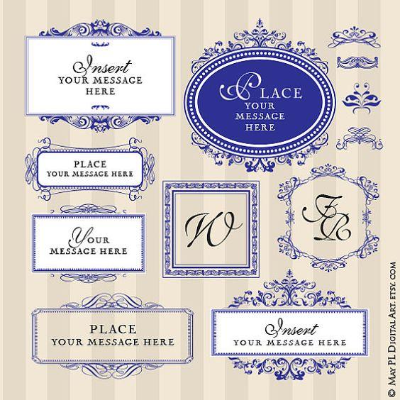Wedding Borders Digital Monogram Frames Clipart Fancy Ornate.