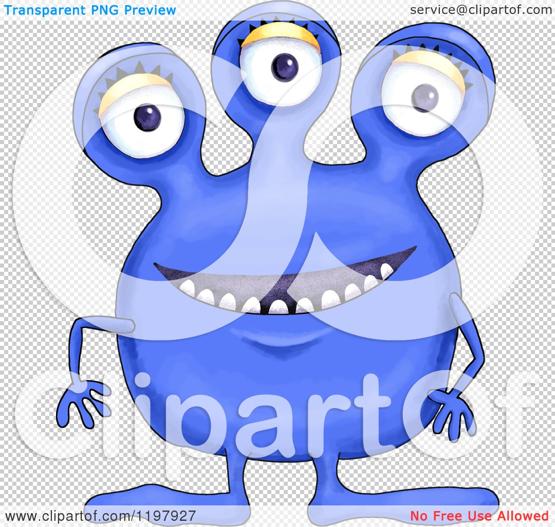 Cartoon of a Happy Smiling Cobalt Blue Monster with Three Eyes.