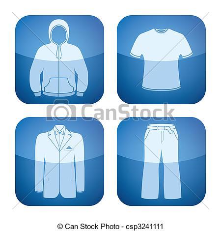 Vector Clip Art of Cobalt Square 2D Icons Set: Man\'s Clothing.