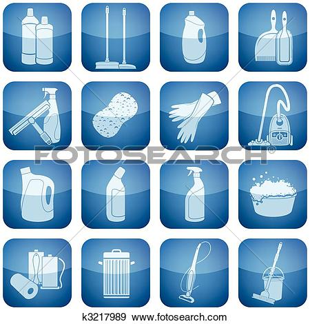 Clip Art of Cobalt Square 2D Icons Set: Cleaning k3217989.