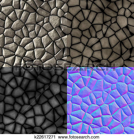 Clipart of Cobble stones seamless generated texture (with diffuse.