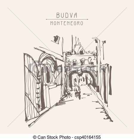 Clipart Vector of ink sketching of historic narrow cobbled street.