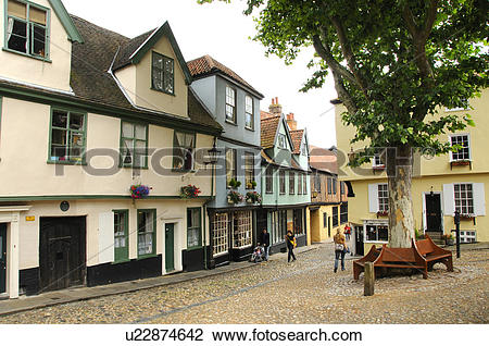 Stock Photo of England, Norfolk, Norwich. Buildings dating back to.